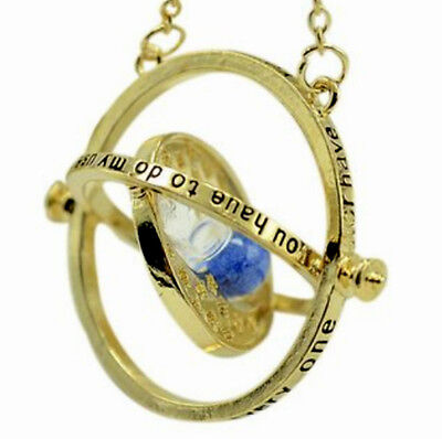 Blue Harry Potter Time Turner Necklace Wizardry Falcoa Horcrux Hourglass Pendant