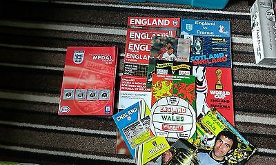 Joblot of 14 England Football programmes Dated 1977-2007 & Esso Medal Collection