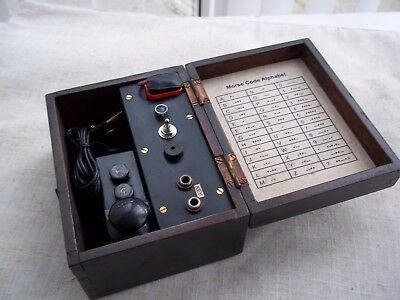 Morse Code/ Telegraph   practice set    with a military morse code key....