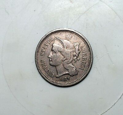 1867 3 Cent Nickel - Large Obverse Retained Cud With, Attached Die Crack