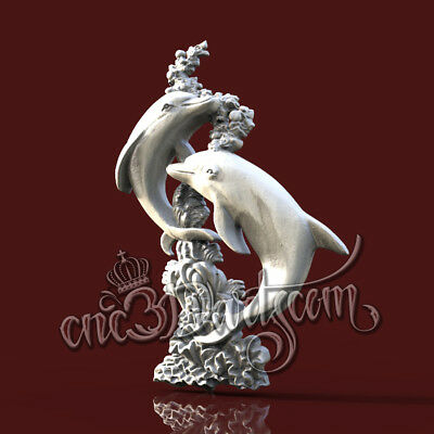 3D Model STL CNC Router Artcam Aspire Dolphins Decor Animal Panel Cut3D Vcarve