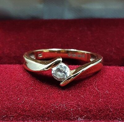 9ct Carat Yellow Gold Crossover Ring with Cubic Zirconia/CZ Size US 6 / UK M