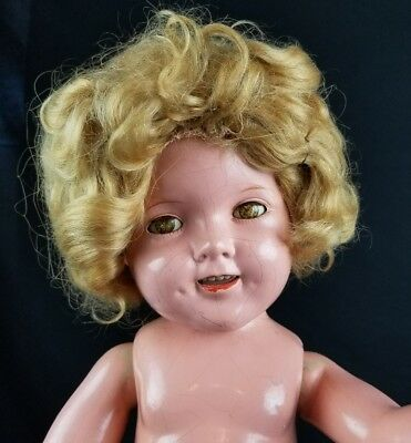Vintage Ideal Shirley Temple Doll Composition 20 in 1930's Original Mohair Wig