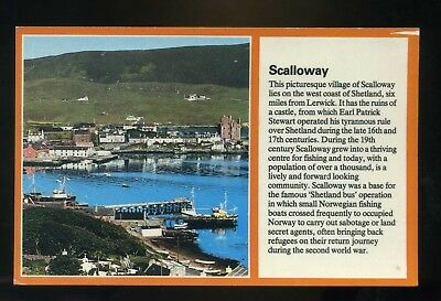 SCALLOWAY  SHETLAND   View of village with information