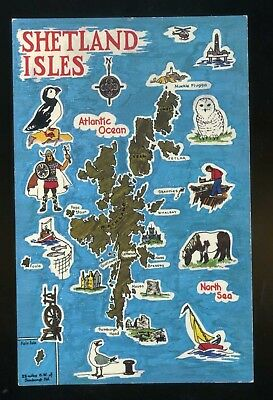 SHETLANDS  Map of Islands with drawings incl Puffin around the edges  coloured