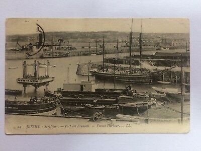 Jersey postcard, LL, French Harbour, St. Helier, ketch Flying Cloud, schooners.