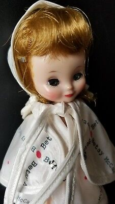 """Vintage 1957 8"""" Betsy McCall Outfit White Vinyl Rain Poncho & hat with Logo VGC"""
