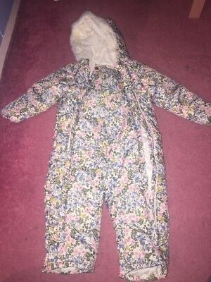 Baby girls M&S snow suit winter coat with hood. Size 12-18 months.