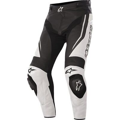 White/Black Sz 52 Alpinestars Track Leather Pants Motorcycle Pant