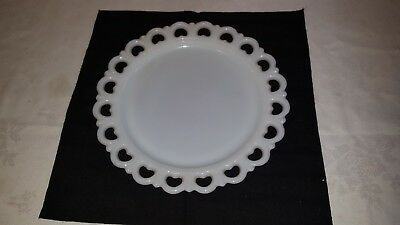 "Vintage Anchor Hocking White Milk Glass Open Heart Lace 13"" Wedding Cake Platter"