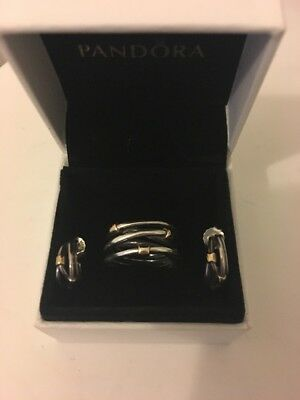 PANDORA RING AND EARRINGS SET SILVER AND 9 Carat Gold