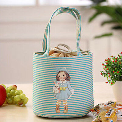 Thermal Insulated Box Tote Cooler Bag Bento Pouch Lunch Storage Case Blue