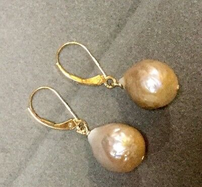 Baroque Peachy/Gold Freshwater Pearl Earrings With 9ct Gold Leverbacks & Finding