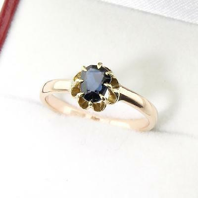 Superb Antique 15ct Rose Gold Pear Sapphire Solitaire Ring Gift Boxed Size L/6