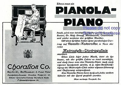 Klavier Pianola Reklame 1911 Choralion Berlin selbstspielendes Musikrolle Piano