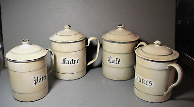 Antique French Enamelware Canister Set with Handles