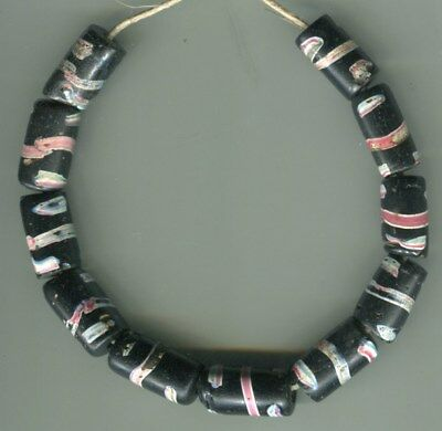 African Trade beads Vintage Venetian old glass beads nice black fancy tubes rare