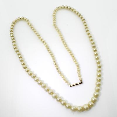 Fine Antique Faux Pearl 9ct Gold Barrel Clasp Graduated Necklace Gift Boxed