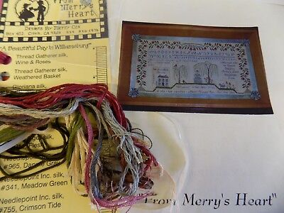 A Beautiful Day In Williamsburg XS Chart and silk floss by Merry Cox