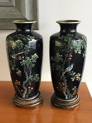 Fine Pair Of Old Japanese Cloisonne Vases With Birds & Flowers