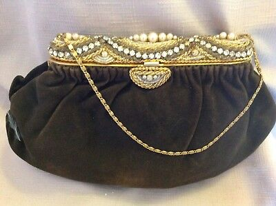 French Jeweled Encrusted Frame Suede Purse C1940's
