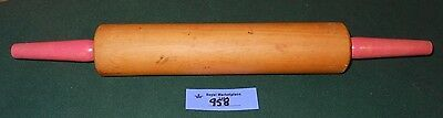 Vintage Wooden Rolling Pin RED Handles