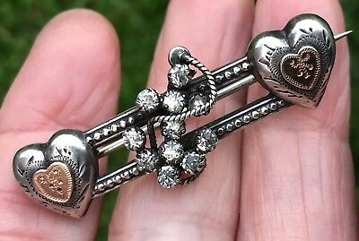 Antique Victorian Sterling Silver /gold Anchor Paste Sweetheart Brooch /pin