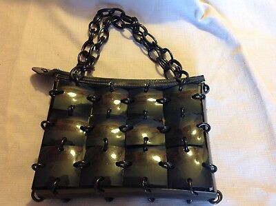 Meyers C1950's Plastic Linked Mod Purse With Leather Interior