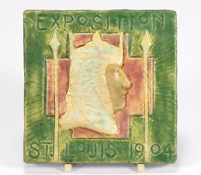 Hartford Faience tile matte green knight Grueby St Louis Expo 1904 Arts & Crafts
