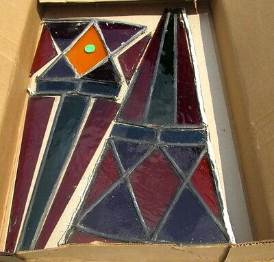 2 Sections Of Antique Victorian Stained Glass Fragments Late 1800's Estate #342