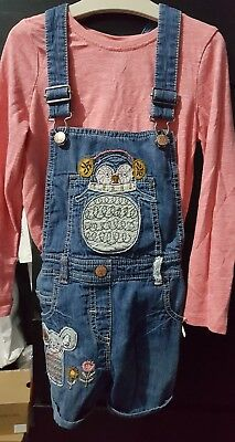 Next girls long sleeved top and short dungarees aged 5-6 yrs