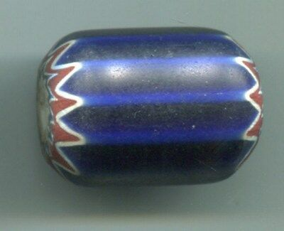 African Trade beads Vintage Venetian glass large 6 layer blue chevron 29x21mm