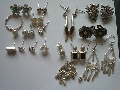 925 SILVER EARRING LOT inc WHITE METAL & BFS x 47pcs USED 39.9g MARCASITE AMBER