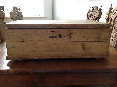 Victorian Rustic Pine Candle Coffer Work Box Chest