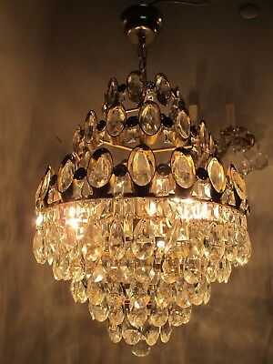 Antique Vnt French BIG Basket Swarovski Crystal Chandelier Lamp 1960's 15in dmt