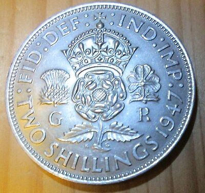 1947 English George VI Two Shillings (Florin) VF