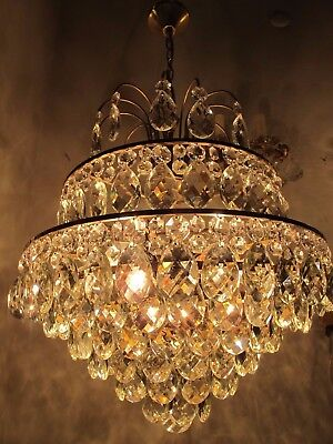 "Antique Vnt French HUGE Basket Brass Crystal Chandelier Lamp 1940's 18"" diameter"