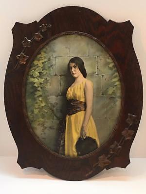 Antique Oval Picture Frame Oak Leaves Women Vintage Hanging or Tripod