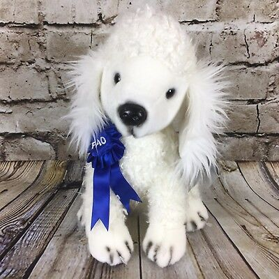 "FAO Schwarz White Poodle Dog Blue Ribbon 10"" Tall Stuffed Plush Doll NWT"