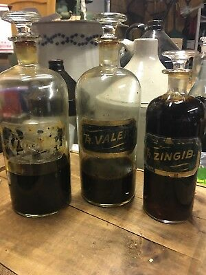3 Open Pontil Lug Label Under Glass Pharmacy Apothecary Druggist Medicine Bottle
