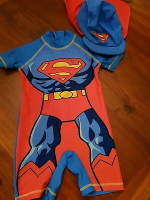 Boys next superman swimsuit with hat 18 month to 24 months
