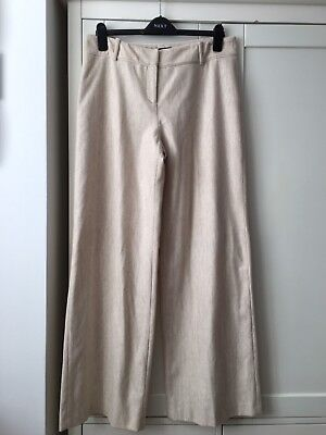 Coast Ladies Trousers Size 14 Cream Wide Leg Wool Lined