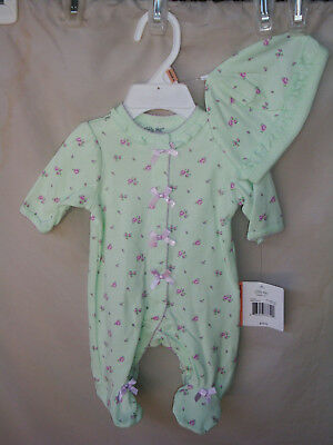 LITTLE ME 100% Cotton Light Green PETITE ROSES Footie w/Matching Hat  NWT