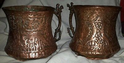 2 Antique Hand Hammered Copper Moscow Mule Mugs Mug