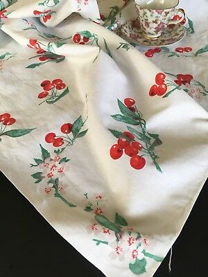 Vintage Mid-century Cherry Printed Cotton Tablecloth
