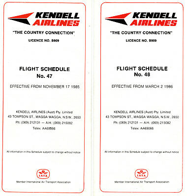 Kendell Airlines Australia Timetables