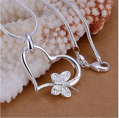 2017 solid silver necklace pendant necklace butterfly lover gift