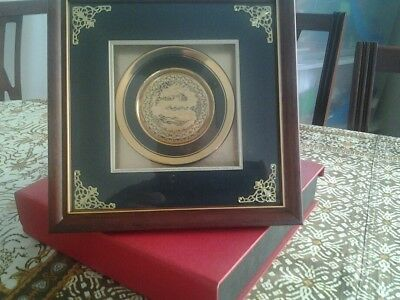 Antique Replica Framed Dragon Plate. Gold Plated.