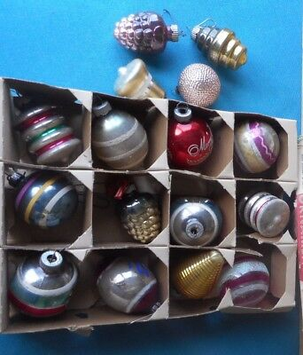 Shiny Brite Christmas Ornaments 16 Ornaments Indents, UFO, Stripes, MIca Trimmed