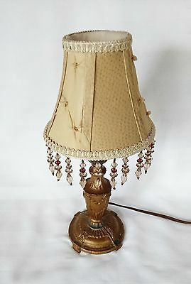 Antique Cast Table Lamp with Modern Shade